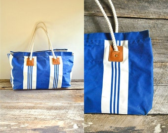 Canvas Tote Bag  //  Striped Beach Bag  //  NANTUCKET BEACH