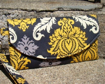 Yellow and Gray Wristlet, Smart Phone Wallet, Mini Bridesmaids Clutch, Bridesmaid Gift, Bridesmaid Clutch