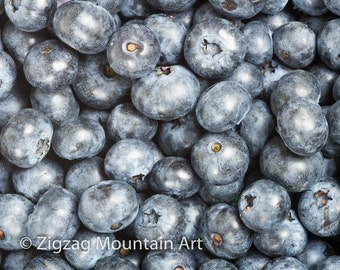 Blueberry art for kitchen.  Fruit wall art or kitchen wall art from food photography.  Fine art print for kitchen decor or wall art.
