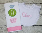 Monogrammed Bib and Burp Cloth Set for Baby Girl with Applique Topiary - Embroidered Personalized