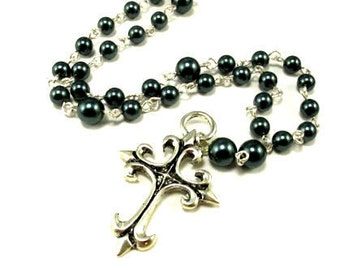 Anglican Prayer Beads with Fleur de Lis Cross and Swarovski Pearls
