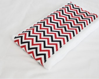 Red and Black Chevron Baby Burp Cloth