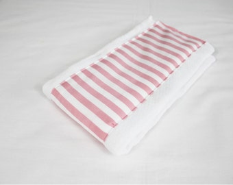 Pink Striped Baby Burp Cloth