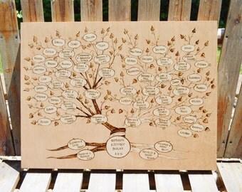 Wood Burned  Family Tree