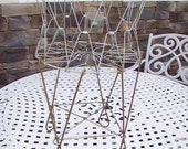 Vintage French Wire Laundry Basket Collapsible Basket Small Size
