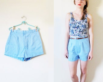 vintage shorts 80s turquoise blue high waisted preppy 1980s womens clothing size s small 4 6