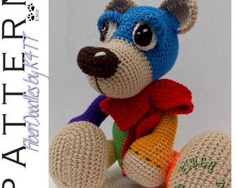 INSTANT DOWNLOAD : Aubry the Autism Awareness Bear Crochet Pattern