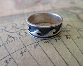 sterling ring - band, waves, size 7