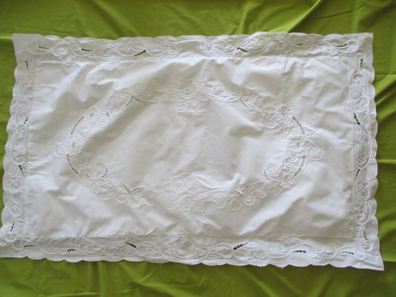 LARGE Shabby Chic White PILLOW SHAM cotton cut by JunqueDuJour