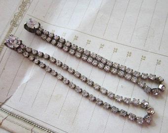 vintage rhinestone dangle loop earrings - 3 inches long