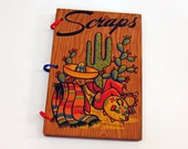 1940s Mexican Wood Cover Scrapbook Cactus Serape Sombrero Blank Great Travel Diary