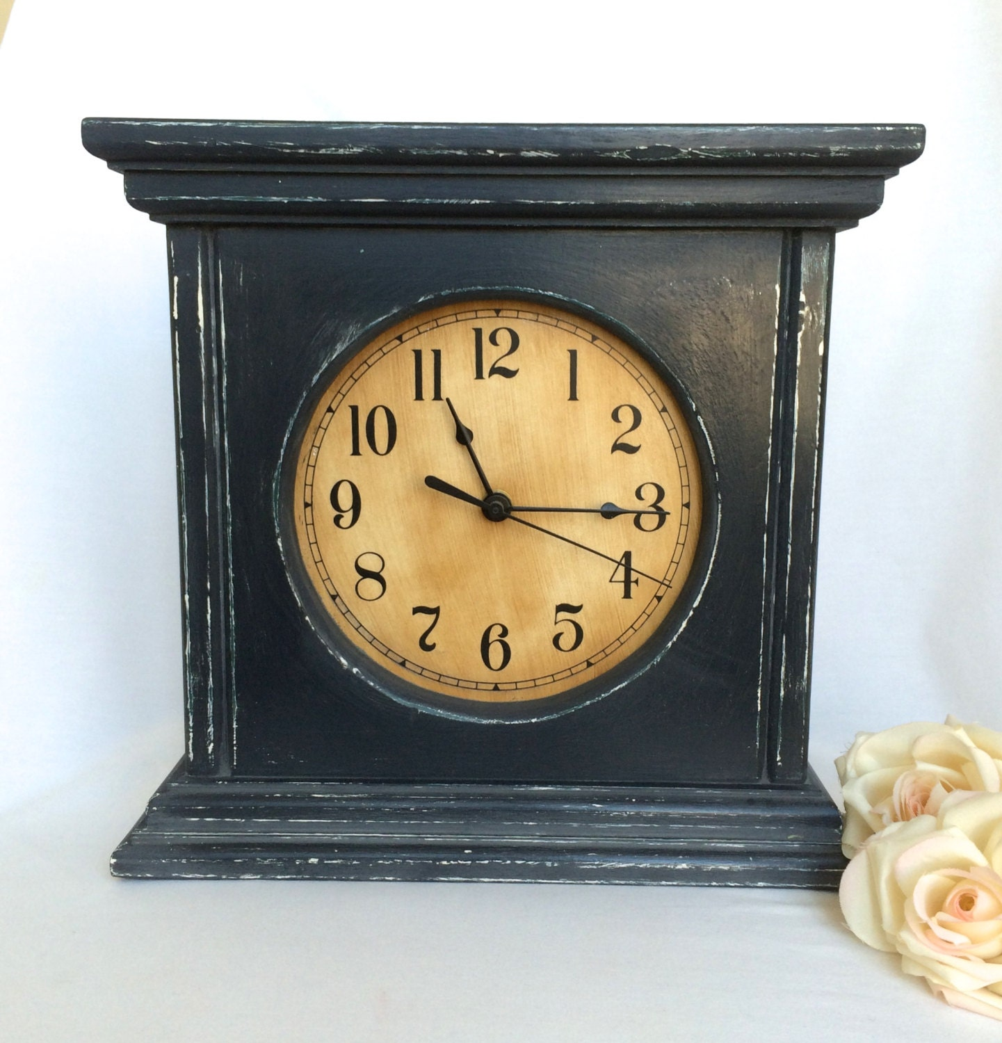 Rustic Country Mantle Clock Slate Grey With Weathered Beige