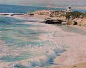 Beach Photo, Ocean Photography, California Coast, Seascape Print, Lifeguard Station, Surf, Sand, Seaside, Sea Green, Blue Ocean, White Waves