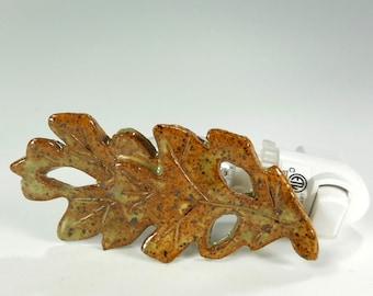Ceramic oak leaf night light, pottery oak leaves night light, stoneware oak leaf, home decor night light, green oak leaf