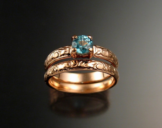 Blue Zircon Wedding set 14k Rose gold Blue Diamond substitute pink gold rings made to order in your size