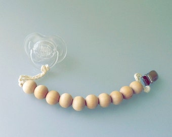 Eco-Friendly Baby Teething Pacifier Clip with natural wooden beads-  Ready to Ship