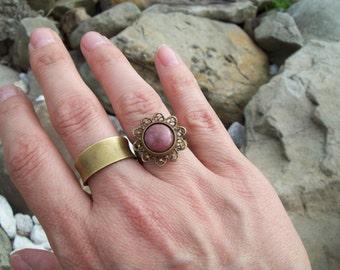 Rhodonite gemstone Cabochon Ring - Adjustable Ring - boho hippie ring, flower setting pink stone ring, gypsy ring
