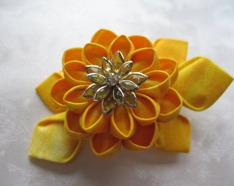 Sunshine Yellow Kanzashi Flower Hair Clip