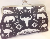 clutch purse - Water hole    - 8 inch metal frame clutch purse / large purse/ charcoal  / kiss lock clutch