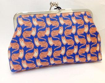 clutch purse - tiger cat   - 8 inch metal frame clutch purse - large purse - blue  - kiss lock clutch - coin purse - clutch bag