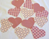 VALENTINE 12 Iron-on Heart Appliques, Checks, Stars, Stripes, Dots, Fusible, Die-cut, Pink, Rose, Blue - 12 Pieces