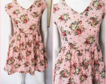 Vtg.80s Pink Floral Rose Print Full Skirt Mini Dress.S.Bust 36.Waist 28.