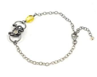 Wire wrapped bracelet, yellow amber bracelet, gemstone bracelet, sterling silver bracelet