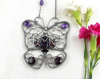Wire wrapped necklace, butterfly necklace, gemstone jewelry, purple necklace, sterling silver jewelry
