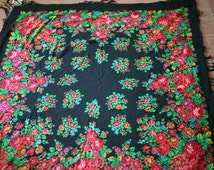"""Vintage Large Russian Shawl Head Scarf with Tassels Floral Roses on Black Wool 57"""" inches From Ukraine Russia Soviet Union USSR"""