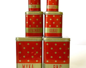 Set of 6 Kitchen Nesting Canisters Containers Box Tins Polka Dot Red Tin from Russia Soviet Union USSR