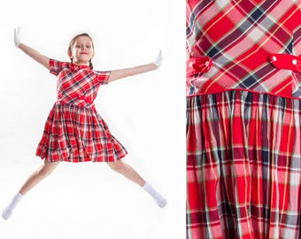 1950s Red Plaid Cotton Dress - Drop Waist - Holiday Fashions