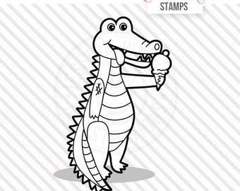 Alligator with Ice Cream Cute Digital Stamp, Ice Cream Alligator Blackline, Alligator Black and White Outline, Alligator Line Art, Summer
