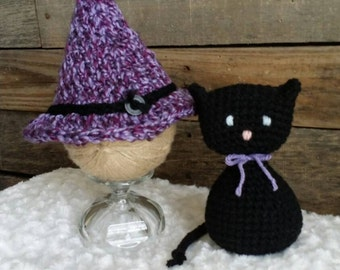 Witch hat and Cat Lovey Prop Lovie amigurumi