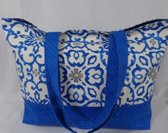 Blue and White Beach BAG, Pool BAG, Extra Large Tote, Diaper BAG, Work Purse, Knitting Bag