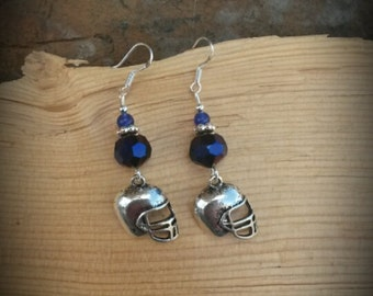 Purple Football Helmet Sterling Silver Earrings, Silver Football Helmet Earrings, Purple Helmet Sterling Silver Earrings