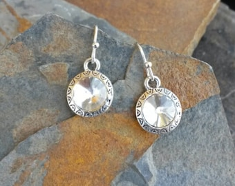 Diamond and Silver Drop Earrings, Faux Diamond Earrings, Diamond Drop Earrings