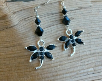 Black Crystal Dragonfly Sterling Silver Dangle Earrings, Crystal Dragonfly Black Dangle Sterling Silver Earrings
