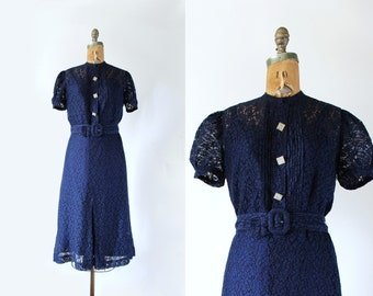 1930s dress - vintage 30s dress - Art Deco 30s lace dress Medium - Navy Blue - 3 piece