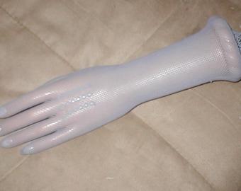Vintage elbow length Gray Fishnet Gloves