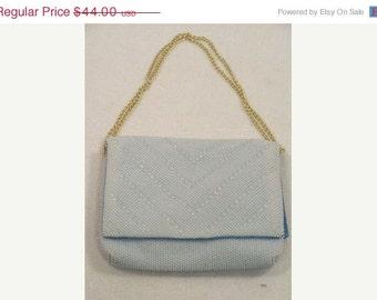 Vintage Pale-Blue All Beaded Evening Bag Purse