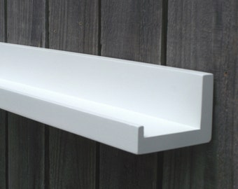 "Narrow Floating ledge Shelf, Picture ledge Shelf, Spice Rack, You Choose length. 12"", 14"", 16"", or 18 Inches. Bright White Finish"