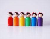 Rainbow Gnome Set With Mushroom Hats - Wooden Dolls Waldorf - Rainbow - Wooden Peg Dolls - Unique Gift RPS1