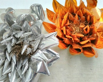Vintage Christmas Decorations Aluminium Flowers Ornaments 1950s Handmade