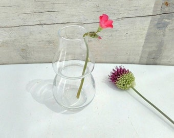Vintage clear glass vase miniature round 60s small minimal miniature