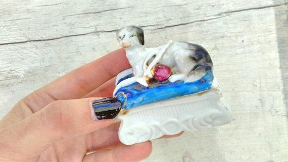 Antique porcelain dog trinket box 1800s GERMANY