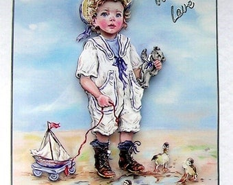 "Hand Crafted 3D Decoupage Card, With Love (1848) ""Sail Away"""