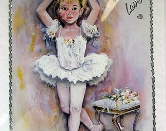 """Hand Crafted 3D Decoupage Card, With Love (1863) """"Ballet Arabesque"""""""