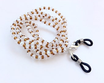 Eyeglasses holder clear and brown crystals beads beautiful eyeglasses neck chain N18