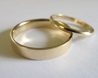 14k solid gold wedding band set