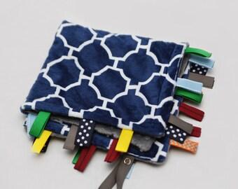 Baby Ribbon Tag Blanket - Minky Binky Blankie - Navy Geometric with Grey